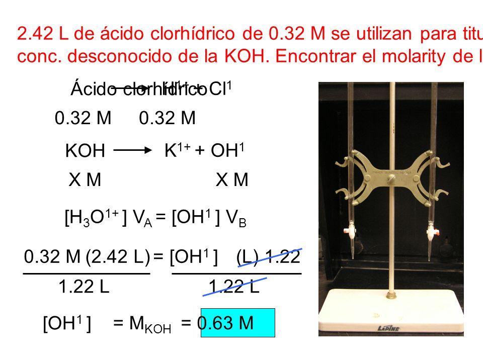 2.42 L de ácido clorhídrico de 0.32 M se utilizan para titular 1.22 L de conc. desconocido de la KOH. Encontrar el molarity de la KOH. Ácido clorhídri
