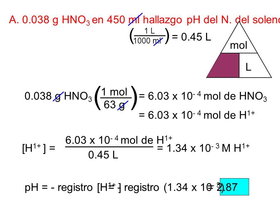 A. 0.038 g HNO 3 en 450 ml hallazgo pH del N. del solenoide'. = 0.45 L 0.038 g HNO 3 63 g 1 mol () = 6.03 x 10 - 4 mol de HNO 3 1000 ml 1 L () = 6.03