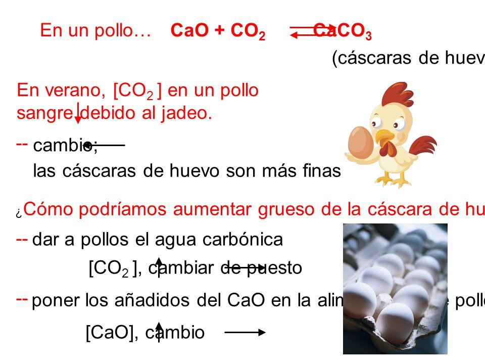 En un pollo… CaO + CO 2 CaCO 3 En verano, [CO 2 ] en un pollo sangre debido al jadeo. -- ¿ Cómo podríamos aumentar grueso de la cáscara de huevo en ve