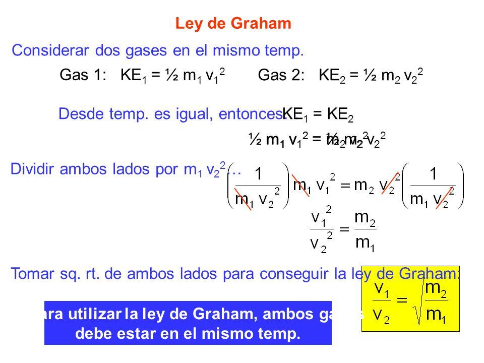 Ley de Graham Considerar dos gases en el mismo temp. Gas 1: KE 1 = ½ m 1 v 1 2 Gas 2: KE 2 = ½ m 2 v 2 2 Desde temp. es igual, entonces…KE 1 = KE 2 ½