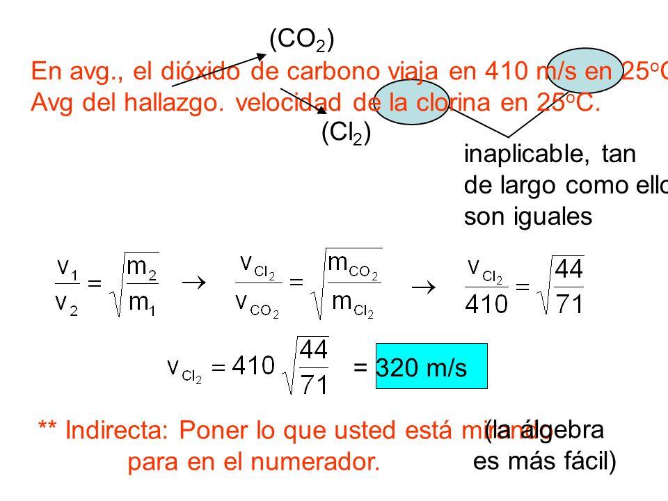 inaplicable, tan de largo como ellos son iguales En avg., el dióxido de carbono viaja en 410 m/s en 25 o C. Avg del hallazgo. velocidad de la clorina