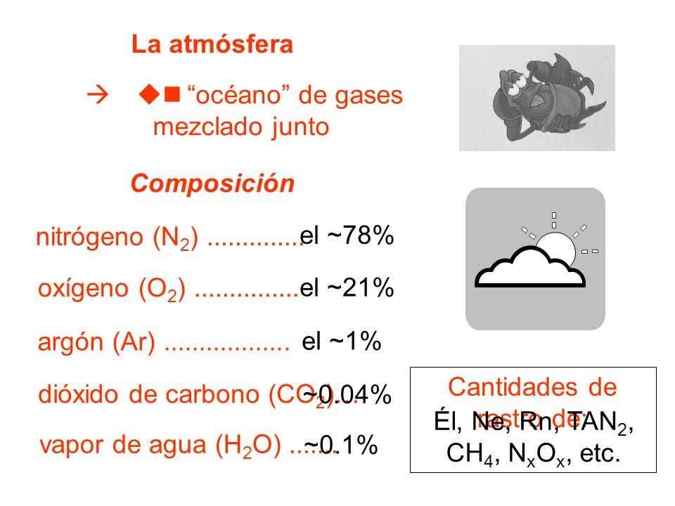 el ~78% La atmósfera océano de gases mezclado junto Composición nitrógeno (N 2 ).............. oxígeno (O 2 )............... argón (Ar)...............