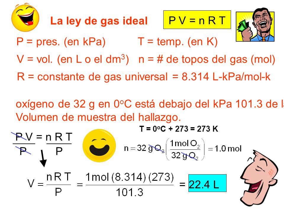 = 22.4 L La ley de gas ideal P V = n R T P = pres. (en kPa) V = vol. (en L o el dm 3 ) T = temp. (en K) n = # de topos del gas (mol) R = constante de