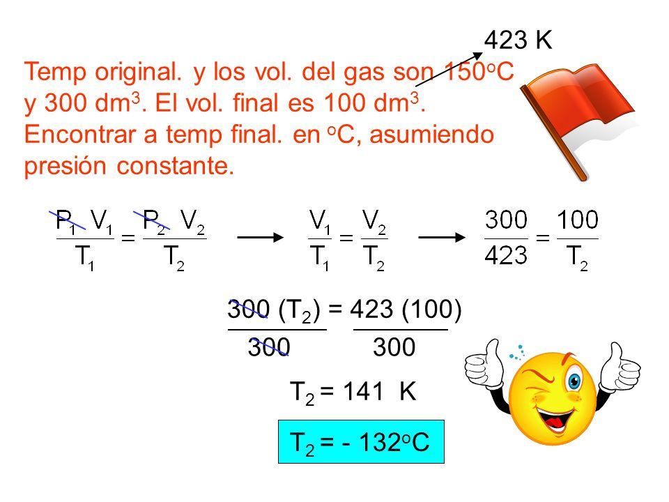 Temp original. y los vol. del gas son 150 o C y 300 dm 3. El vol. final es 100 dm 3. Encontrar a temp final. en o C, asumiendo presión constante. 423