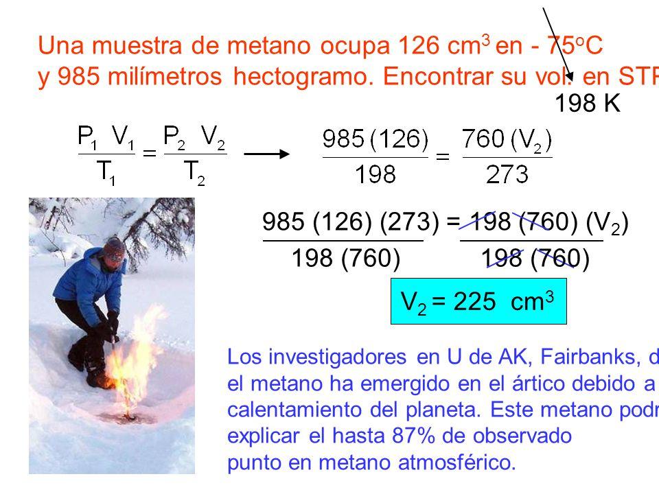 Una muestra de metano ocupa 126 cm 3 en - 75 o C y 985 milímetros hectogramo. Encontrar su vol. en STP. 198 K 985 (126) (273) = 198 (760) (V 2 ) 198 (