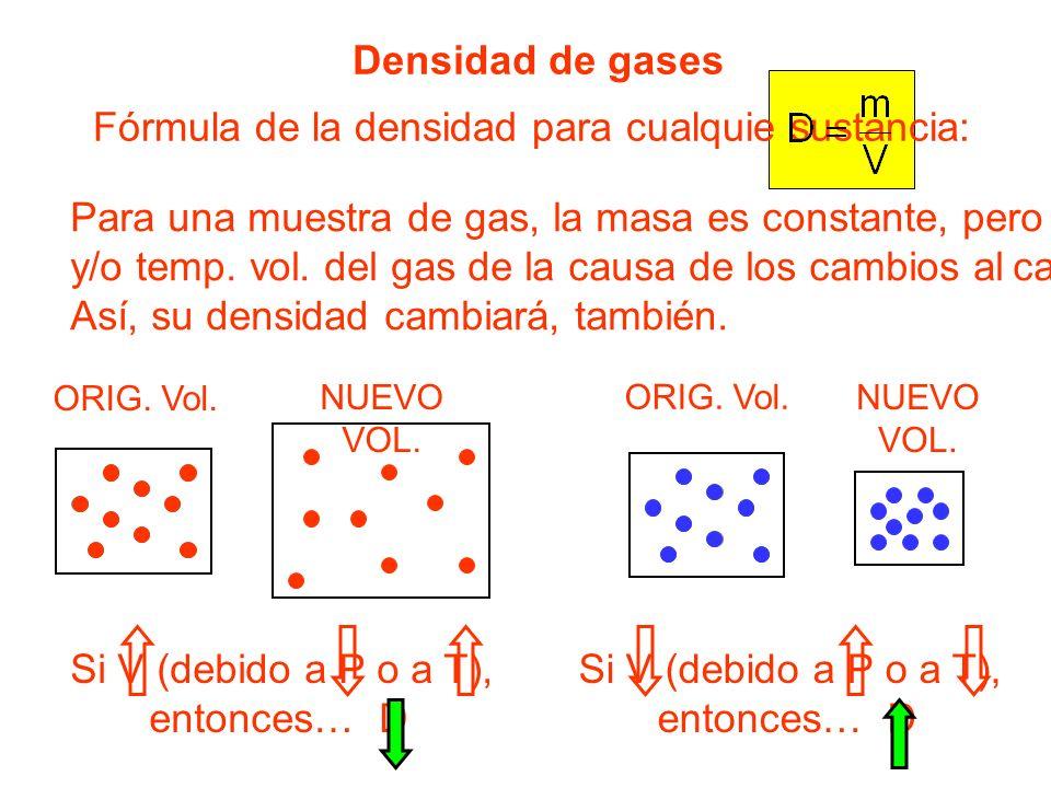 Densidad de gases Fórmula de la densidad para cualquie sustancia: Para una muestra de gas, la masa es constante, pero pres. y/o temp. vol. del gas de
