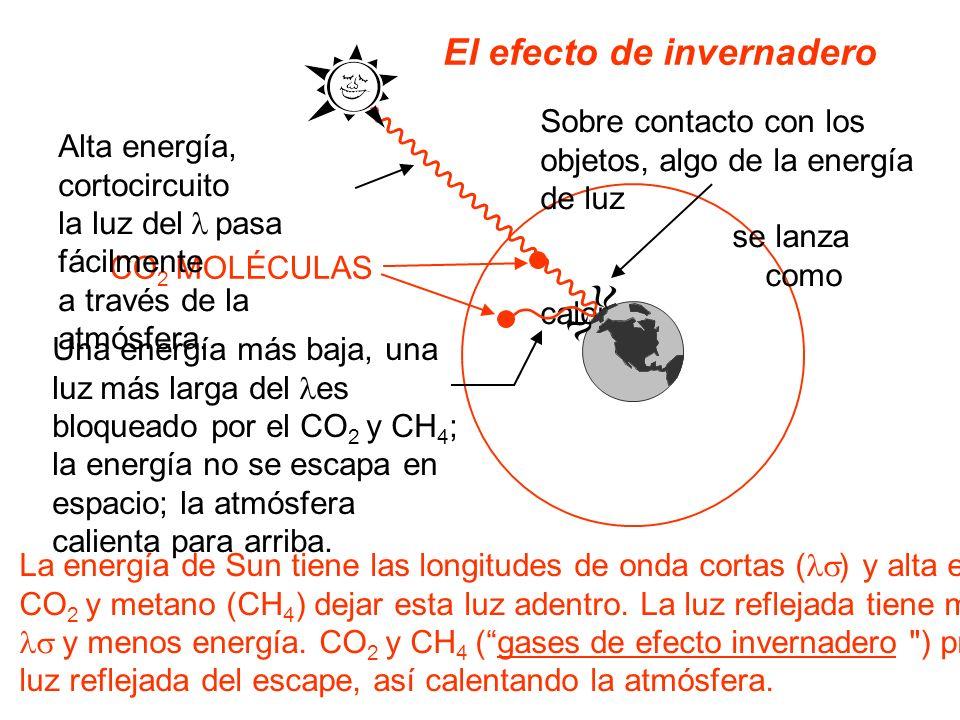 El efecto de invernadero CO 2 MOLÉCULAS Sobre contacto con los objetos, algo de la energía de luz se lanza como calor. Una energía más baja, una luz m