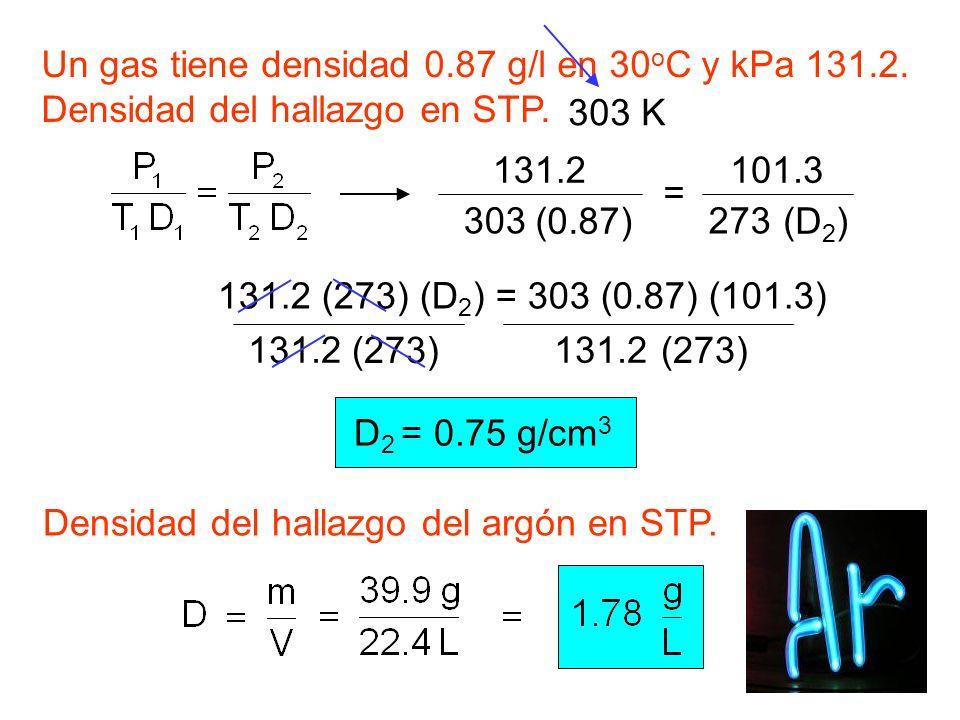 Un gas tiene densidad 0.87 g/l en 30 o C y kPa 131.2. Densidad del hallazgo en STP. 303 K 131.2 (273) (D 2 ) = 303 (0.87) (101.3) 131.2 (0.87) = 303 1
