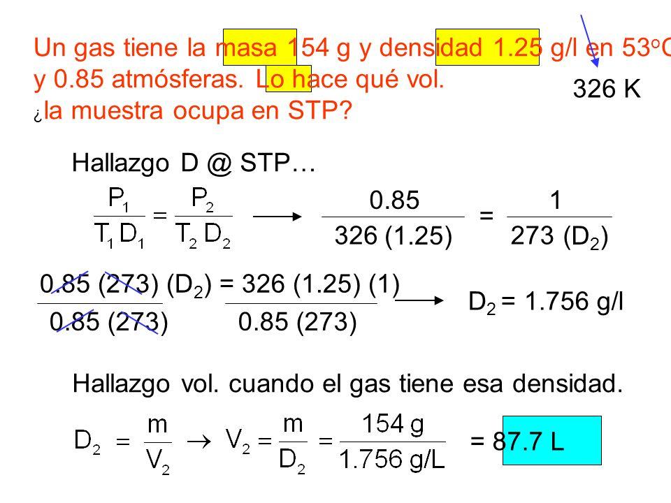 Un gas tiene la masa 154 g y densidad 1.25 g/l en 53 o C y 0.85 atmósferas. Lo hace qué vol. ¿ la muestra ocupa en STP? 326 K Hallazgo D @ STP… 0.85 (