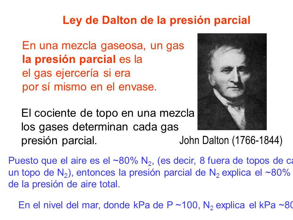 Ley de Dalton de la presión parcial En una mezcla gaseosa, un gas la presión parcial es la el gas ejercería si era por sí mismo en el envase. El cocie