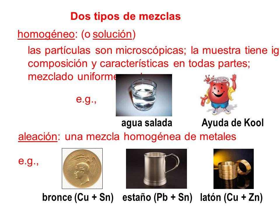 Dos tipos de mezclas homogéneo: (o solución) las partículas son microscópicas; la muestra tiene iguales composición y características en todas partes;