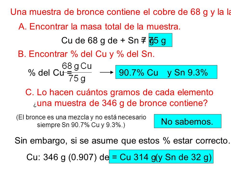 Una muestra de bronce contiene el cobre de 68 g y la lata de 7 g. A. Encontrar la masa total de la muestra. B. Encontrar % del Cu y % del Sn. C. Lo ha