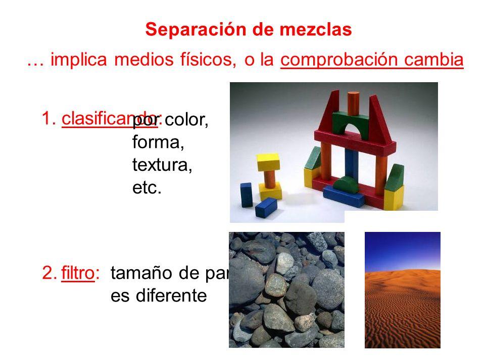 Separación de mezclas … implica medios físicos, o la comprobación cambia 1. clasificando: 2. filtro: por color, forma, textura, etc. tamaño de partícu