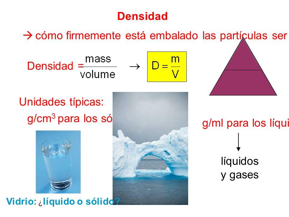 Densidad cómo firmemente está embalado las partículas ser Densidad = Unidades típicas: g/cm 3 para los sólidos g/ml para los líquidos m V D líquidos y