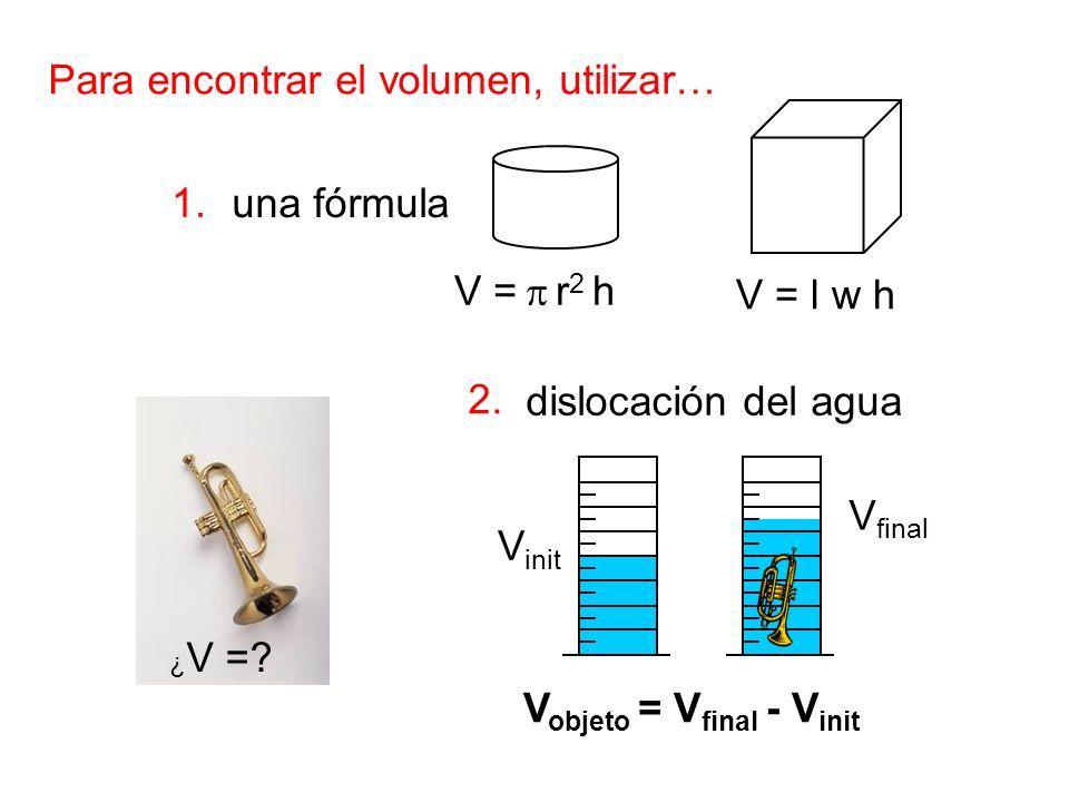 Para encontrar el volumen, utilizar… 1. una fórmula dislocación del agua V = l w h V = r 2 h ¿ V =? V final V init V objeto = V final - V init 2.