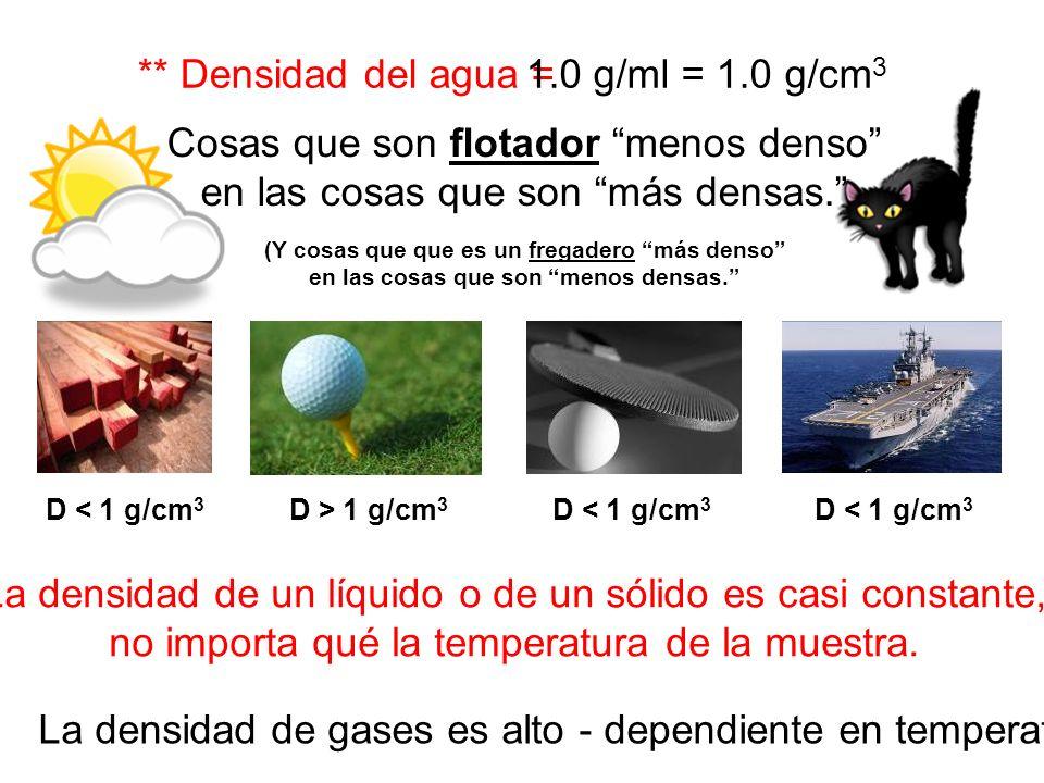 ** Densidad del agua = La densidad de un líquido o de un sólido es casi constante, no importa qué la temperatura de la muestra. 1.0 g/ml = 1.0 g/cm 3