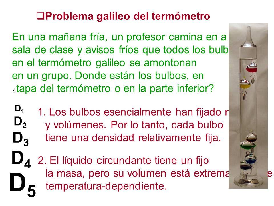 Problema galileo del termómetro En una mañana fría, un profesor camina en a sala de clase y avisos fríos que todos los bulbos en el termómetro galileo