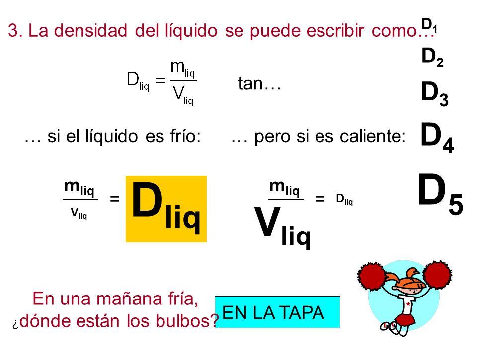 D1D1 D2D2 D3D3 D4D4 D5D5 3. La densidad del líquido se puede escribir como… tan… … si el líquido es frío:… pero si es caliente: m liq = En una mañana