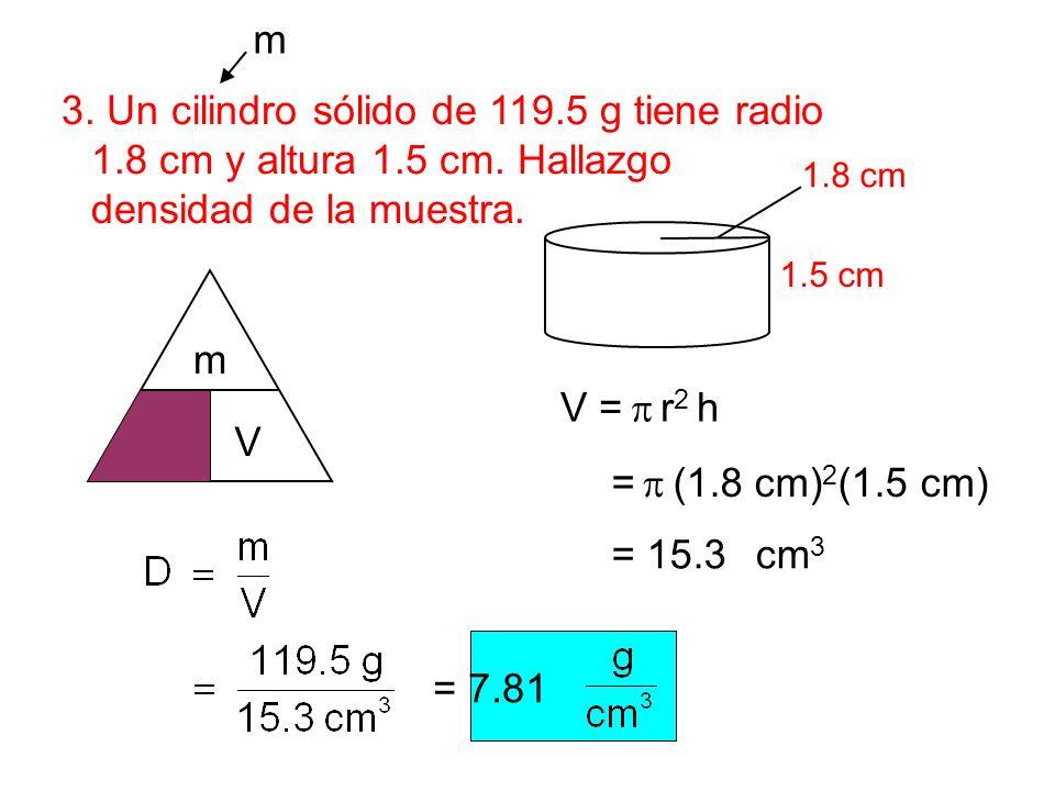 3. Un cilindro sólido de 119.5 g tiene radio 1.8 cm y altura 1.5 cm. Hallazgo densidad de la muestra. 1.5 cm 1.8 cm m V D m V = r 2 h = (1.8 cm) 2 (1.