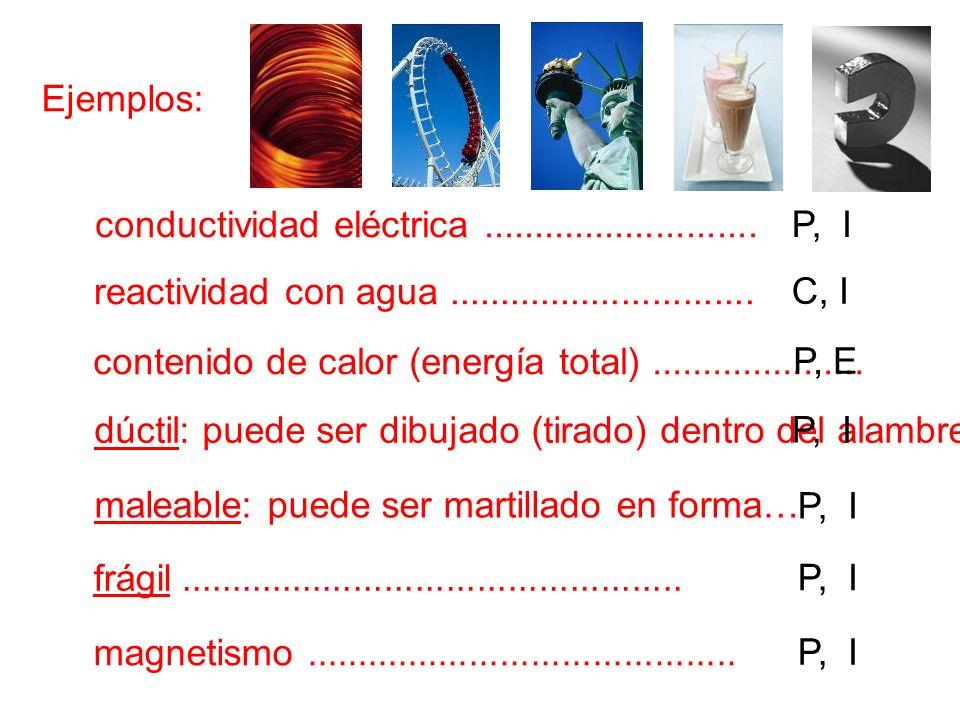 P, Ejemplos: conductividad eléctrica........................... reactividad con agua.............................. contenido de calor (energía total).
