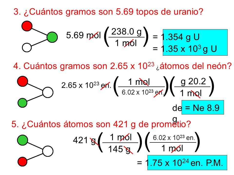 3. ¿Cuántos gramos son 5.69 topos de uranio? 5.69 mol () 1 mol 238.0 g = 1.354 g U = 1.35 x 10 3 g U 4. Cuántos gramos son 2.65 x 10 23 ¿ átomos del n