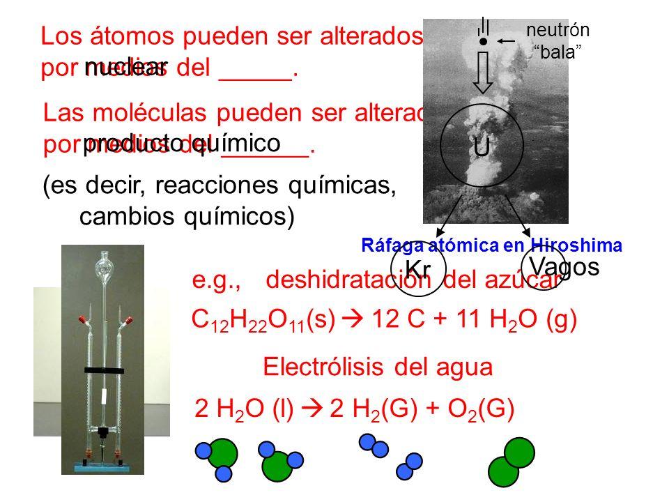 Los átomos pueden ser alterados solamente por medios del _____. Las moléculas pueden ser alteradas por medios del ______. (es decir, reacciones químic