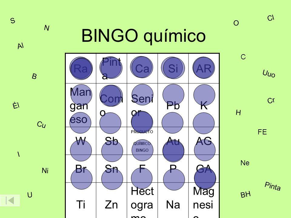 BINGO químico Ra Pint a CaSiAR Man gan eso Com o Seni or PbK WSb PRODUCTO QUÍMICO BINGO AuAG BrSnFPGA TiZn Hect ogra mo Na Mag nesi o B Cl C Cr Cu Él