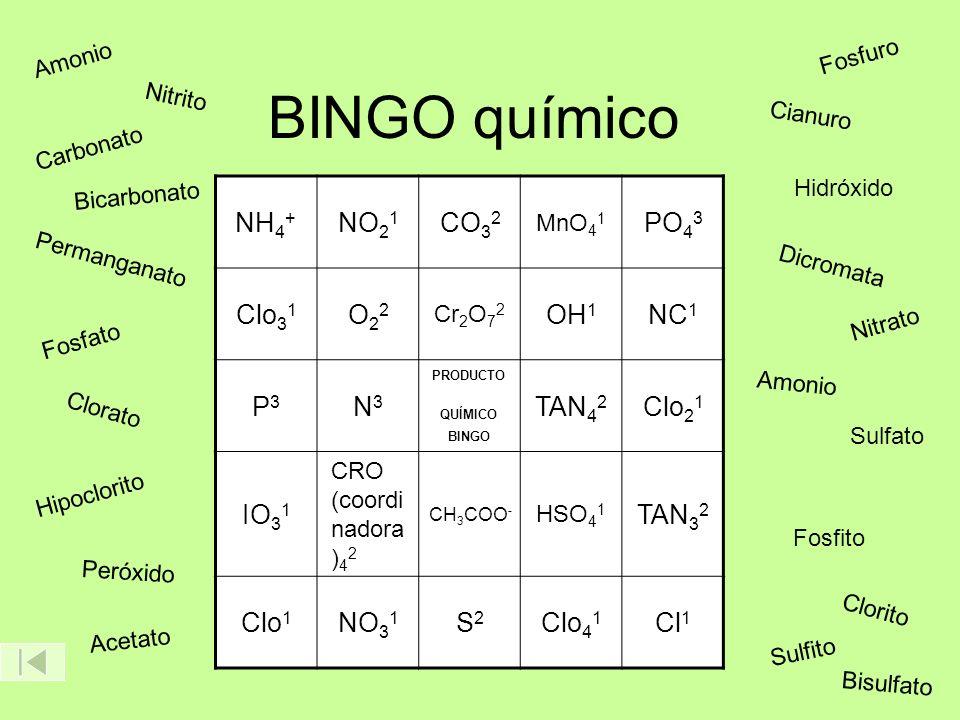 BINGO químico NH 4 + NO 2 1 CO 3 2 MnO 4 1 PO 4 3 Clo 3 1 O22O22 Cr 2 O 7 2 OH 1 NC 1 P3P3 N3N3 PRODUCTO QUÍMICO BINGO TAN 4 2 Clo 2 1 IO 3 1 CRO (coo
