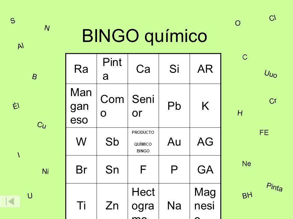 BINGO químico Ra Pint a CaSiAR Man gan eso Com o Seni or PbK WSb AuAG BrSnFPGA TiZn Hect ogra mo Na Mag nesi o