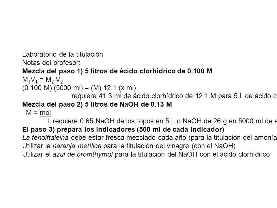 Laboratorio de la titulación Notas del profesor: Mezcla del paso 1) 5 litros de ácido clorhídrico de 0.100 M M 1 V 1 = M 2 V 2 (0.100 M) (5000 ml) = (