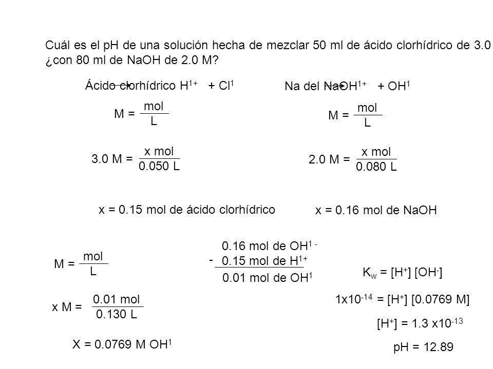Cuál es el pH de una solución hecha de mezclar 50 ml de ácido clorhídrico de 3.0 M ¿con 80 ml de NaOH de 2.0 M? M = mol L M = mol L Ácido clorhídrico
