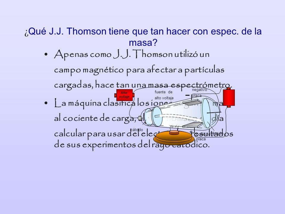 ¿ Qué J.J. Thomson tiene que tan hacer con espec. de la masa? Apenas como J.J. Thomson utilizó un campo magnético para afectar a partículas cargadas,
