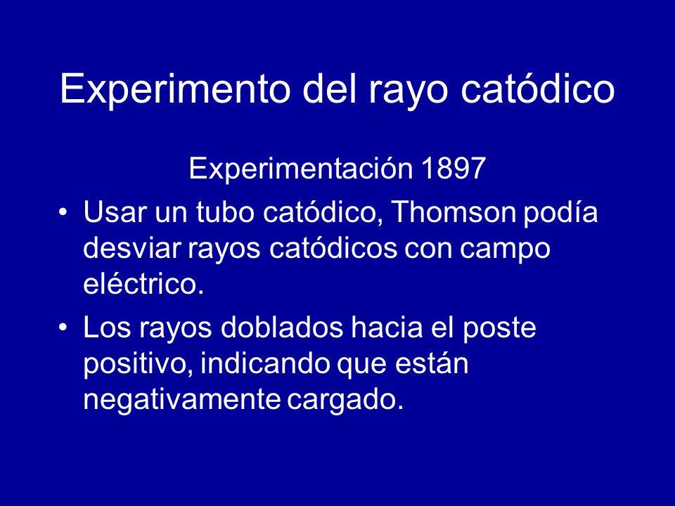 Experimento del rayo catódico Experimentación 1897 Usar un tubo catódico, Thomson podía desviar rayos catódicos con campo eléctrico. Los rayos doblado