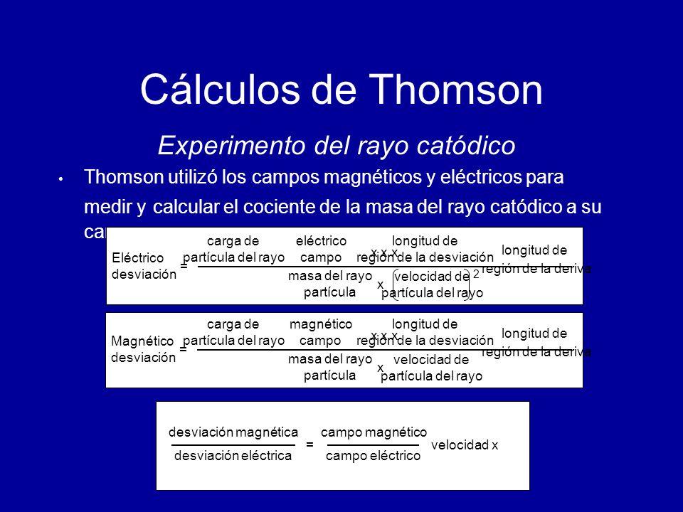 Cálculos de Thomson Experimento del rayo catódico Thomson utilizó los campos magnéticos y eléctricos para medir y c alcular el cociente de la masa del