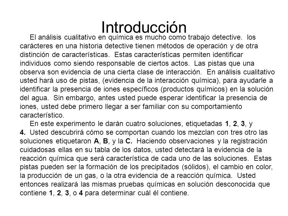 Introducción El análisis cualitativo en química es mucho como trabajo detective. los carácteres en una historia detective tienen métodos de operación