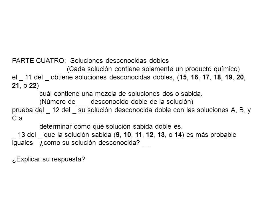 PARTE CUATRO: Soluciones desconocidas dobles (Cada solución contiene solamente un producto químico) el _ 11 del _ obtiene soluciones desconocidas dobl