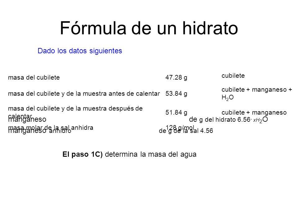 Fórmula de un hidrato Dado los datos siguientes masa del cubilete 47.28 g cubilete masa del cubilete y de la muestra antes de calentar53.84 g cubilete + manganeso + H 2 O masa del cubilete y de la muestra después de calentar 51.84 gcubilete + manganeso masa molar de la sal anhidra128 g/mol El paso 1C) determina la masa del agua hidrato 6.56 g - sal anhidra 4.56 g H 2 Agua 2.00 g de O manganeso de g del hidrato 6.56.