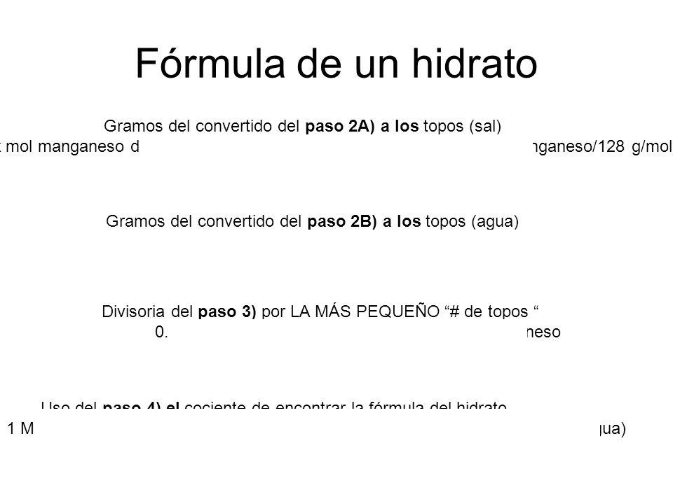 Fórmula de un hidrato Gramos del convertido del paso 2A) a los topos (sal) x mol manganeso de = manganeso 4.56 g (1 mol de manganeso del manganeso/128 g/mol) x = 0.0356 mol de manganeso Gramos del convertido del paso 2B) a los topos (agua) mol de x H 2 O = 2.00 g H 2 O (1 mol de H 2 O/18 g/mol H 2 O) x = 0.111 mol de H 2 O Divisoria del paso 3) por LA MÁS PEQUEÑO # de topos 0.0356 mol de manganeso/0.0356 mol = 1 manganeso 0.111 mol de H 2 O/0.0356 mol = 3.12 H 2 O Uso del paso 4) el cociente de encontrar la fórmula del hidrato 1 MANGANESO.