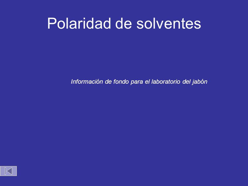 Polaridad de solventes Información de fondo para el laboratorio del jabón