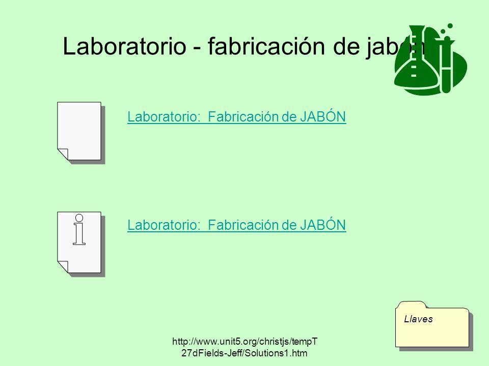 http://www.unit5.org/christjs/tempT 27dFields-Jeff/Solutions1.htm Laboratorio - fabricación de jabón LlavesLlaves Laboratorio: Fabricación de JABÓN
