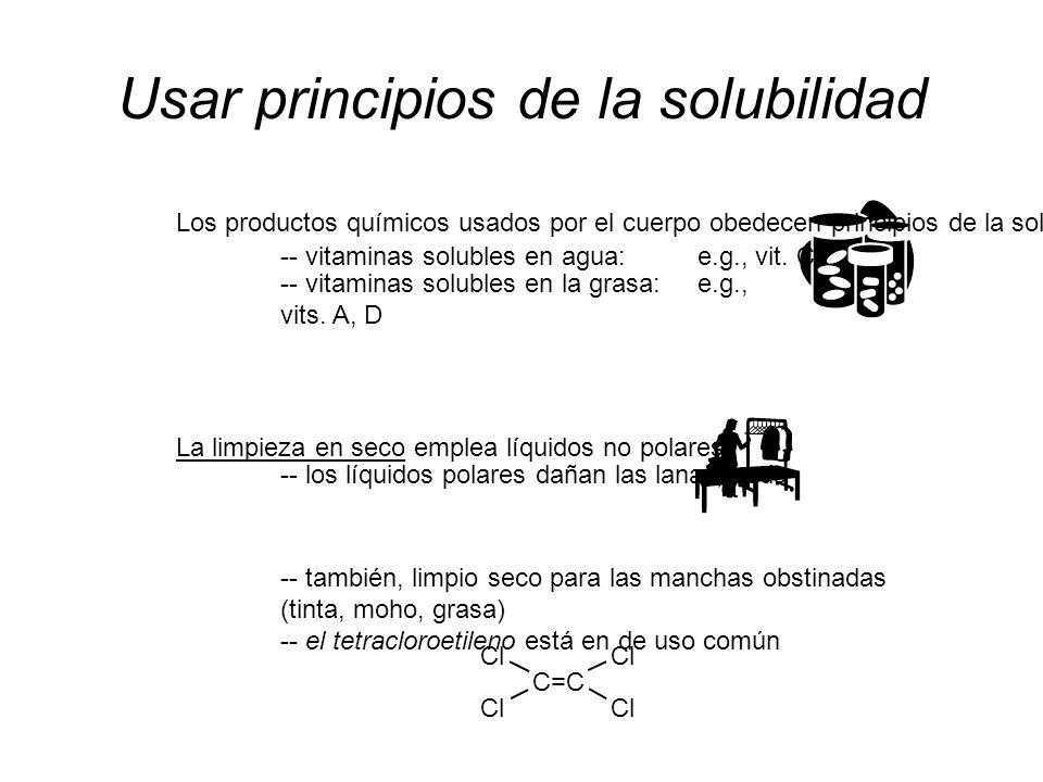 MODELO DE UNA MOLÉCULA DEL JABÓN NO POLAR HIDROCARBURO COLA POLAR CABEZA Na 1+ agente emulsionando (emulsor): -- moléculas w/both un extremo polar Y no polar -- permite las sustancias polares y no polares mezclarse detergentelecitinahuevose.g., jabón