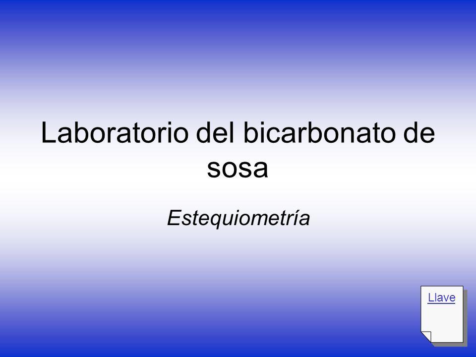 Laboratorio del bicarbonato de sosa Estequiometría Llave