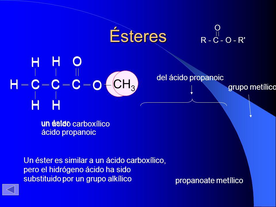 Ésteres Un éster es similar a un ácido carboxílico, pero el hidrógeno ácido ha sido substituido por un grupo alkílico H O CCC H H OH H H un ácido carb