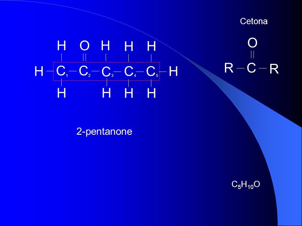 H CCH H H H H C CC HH HOH 2-pentanone C 5 H 10 O Cetona R RC O 12345