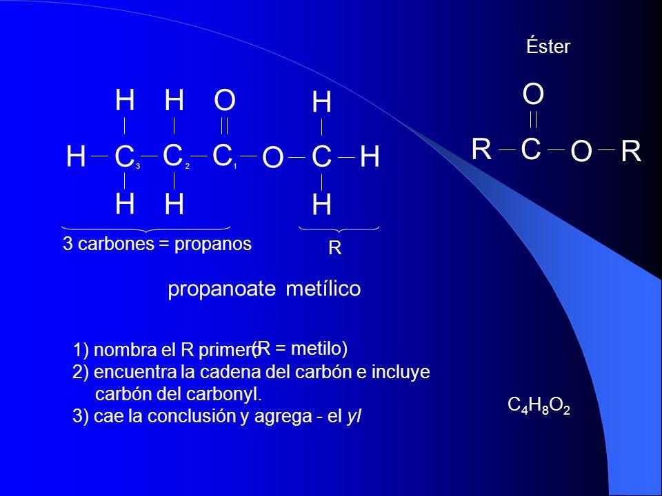 propanoate metílico C4H8O2C4H8O2 Éster H CH H C O CC H OH H H H O RC O R R 1 2 3 3 carbones = propanos 1) nombra el R primero 2) encuentra la cadena d