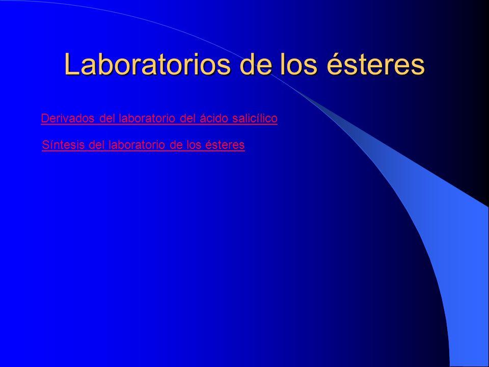 Laboratorios de los ésteres Derivados del laboratorio del ácido salicílico Síntesis del laboratorio de los ésteres
