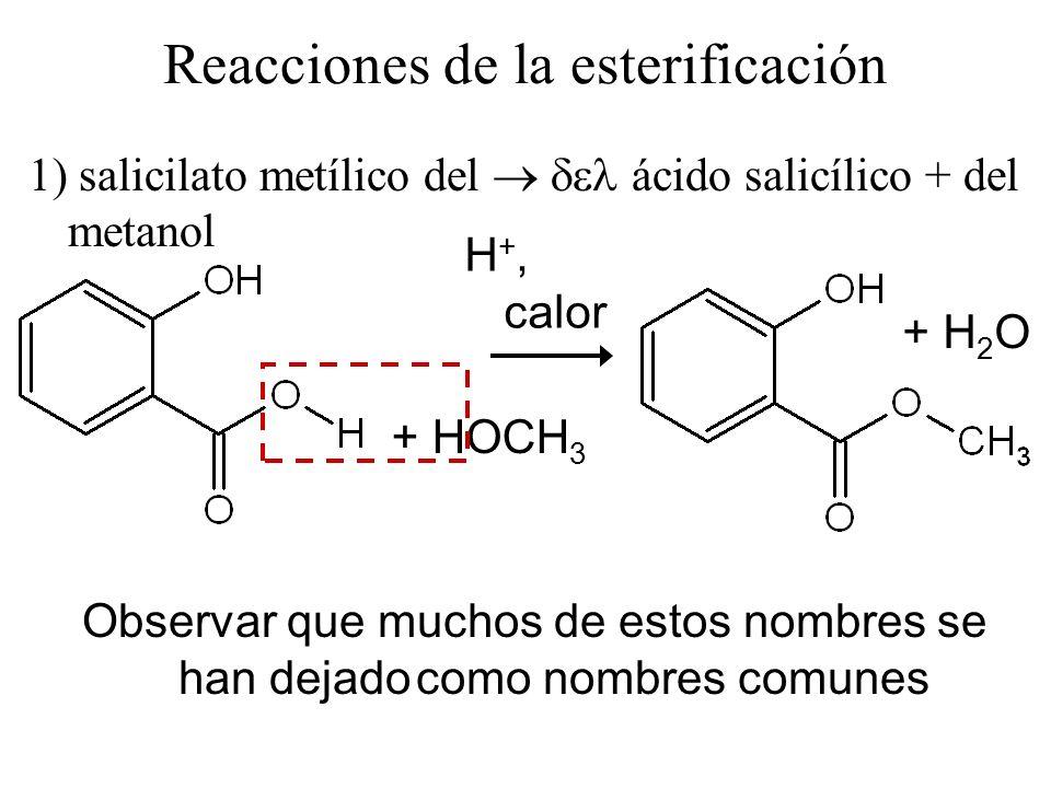 1) salicilato metílico del ácido salicílico + del metanol + HOCH 3 + H 2 O H +, calor Reacciones de la esterificación Observar que muchos de estos nom