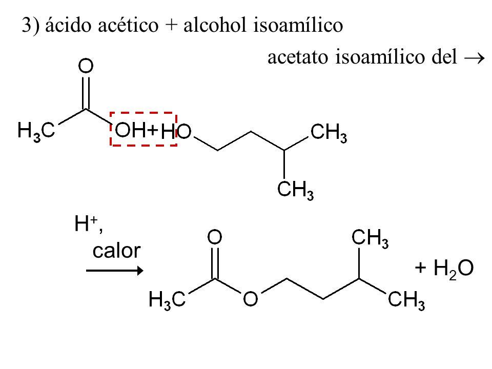 3) ácido acético + alcohol isoamílico acetato isoamílico del + H 2 O H +, calor +