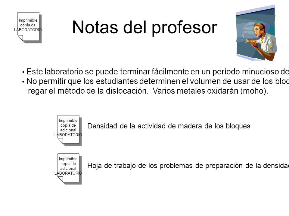 Notas del profesor Este laboratorio se puede terminar fácilmente en un período minucioso de la clase 50. No permitir que los estudiantes determinen el