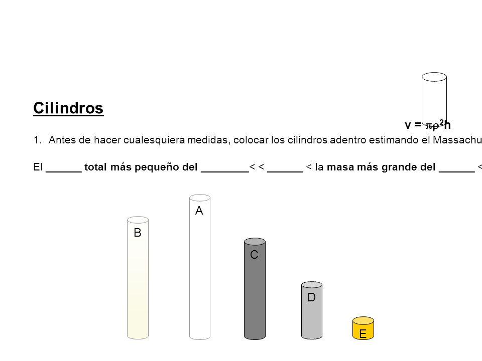 1.Con el método de su elegir (dos métodos posibles), determinar el volumen de cada cilindro.